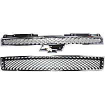 Grille Assembly - Chrome Shell with Painted Black Insert, with Front Lower Bumper Grille