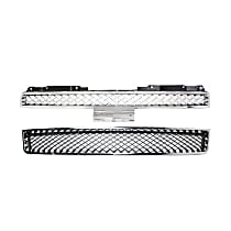 Grille Assembly - Chrome Shell with Painted Gray (Platinum) Insert, with Front Lower Bumper Grille