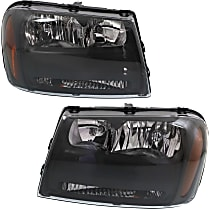 Headlights - Driver and Passenger Side, Pair, Black Trim, With Bulb(s)