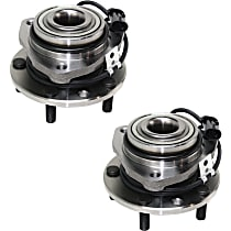 Front, Driver and Passenger Side Wheel Hub and Bearing Assembly, For 4WD or AWD, 4-Wheel ABS