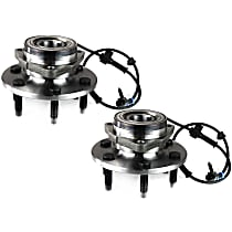 Front, Driver and Passenger Side Wheel Hub and Bearing Assembly, For 4WD or AWD, with Passive ABS Sensor