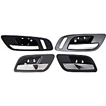Interior Door Handle - Front (Left and Right with Small Hole) and Rear, Driver and Passenger Side, Black Bezel with Chrome Lever