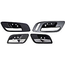 Interior Door Handle - Front (Left without Hole/Right with Small Hole) and Rear, Driver and Passenger Side, Black Bezel with Chrome Lever