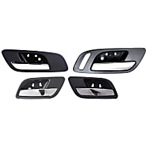 Front and Rear, Driver and Passenger Side Interior Door Handle, Black bezel with chrome lever