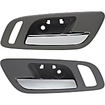Interior Door Handle - Front, Driver and Passenger Side, Gray Bezel with Chrome Lever, with Big Hole for Power Window Switch