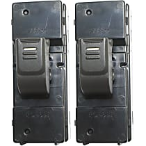Window Switch - Rear, Driver and Passenger Side, Black, 1-Button, Set of 2
