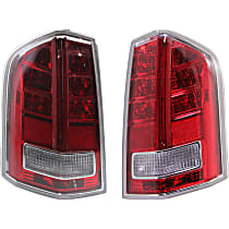 Driver and Passenger Side Tail Light, With bulb(s) - Clear & Red Lens, w/ Red Accent, Sedan