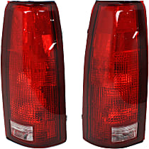 Driver and Passenger Side Tail Light, Without bulb(s) - Clear & Red Lens, w/o Connector Plate, Exc. 15, 000 Lbs. GVW