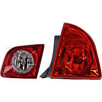 Passenger Side, Inner and Outer Tail Light, With bulb(s) - Red Lens, Hybrid/LS/LT Models