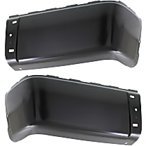 Rear, Driver and Passenger Side Steel Bumper End, Painted Black