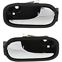 Front, Driver and Passenger Side Interior Door Handle, Black bezel with chrome lever