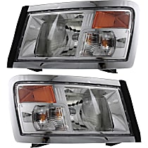 Driver and Passenger Side Headlight, With bulb(s) - Clear Lens, Black Interior