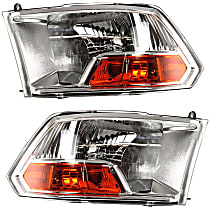 Driver and Passenger Side Halogen Headlight, With Bulb(s) - Models w/o Quad Lamps, (3500 To 7-23-12)