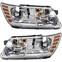 Headlights - Driver and Passenger Side, Pair, Chrome Trim, With Bulb(s)