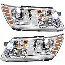 Headlights - Driver and Passenger Side, Pair, Chrome Trim, With Bulb(s), CAPA Certified