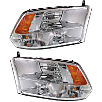 Driver and Passenger Side Halogen Headlight, With bulb(s) - From 7-23-12 Models 3500, Clear Lens, Chrome Interior