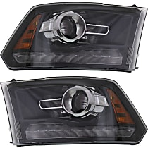 Driver and Passenger Side Halogen Headlight, With bulb(s) - Projector Models With Chrome Bezel/Black Interior