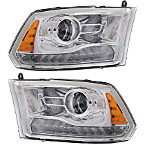Driver and Passenger Side Halogen Headlight, With bulb(s) - Projector Clear Lens, Chrome Interior