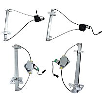 Front and Rear, Driver and Passenger Side Power Window Regulator, With Motor - Quad Cab