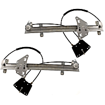 Front, Driver and Passenger Side Power Window Regulator, Without Motor - Quad Cab