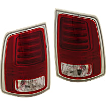 Replacement LED Tail Light - SET-REPD730147 - Driver And Passenger Side, Fits Models With Laramie Trim, Clear & Red Lens; Chrome Interior, w/ Bulb(s)