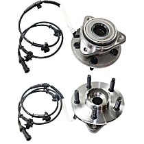 Front, Driver and Passenger Side Wheel Hub And Bearing Assembly, For 4WD or AWD