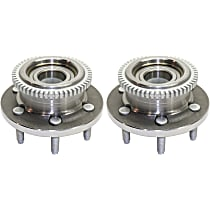 Front, Driver and Passenger Side Set of 2 Wheel Hub and Bearing, For RWD/2WD with 6 lug