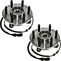 Front, Driver and Passenger Side Set of 2 Wheel Hub and Bearing, For 4WD or AWD with 6 Lug