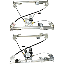 Rear, Driver and Passenger Side Power Window Regulator, With Motor - Crew Cab