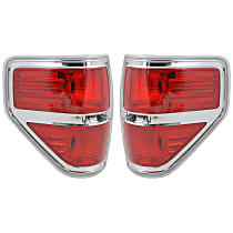 Driver and Passenger Side Tail Light, Without bulb(s) - w/ Styleside Bed, Except FX2 Model, Chrome Bezel Trim