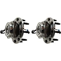 Wheel Hub and Bearing - Front, Driver and Passenger Side, Set of 2, 4WD, Single Rear Wheels, 9900 lbs. GVW