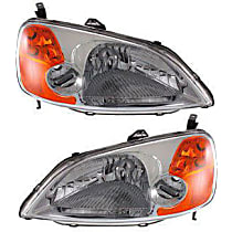 Driver and Passenger Side Headlight, Without bulb(s) - Sedan