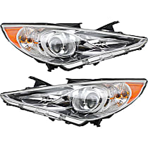 Driver and Passenger Side Halogen Headlight, With bulb(s) - Except Hybrid Model, Clear Lens, Chrome Interior