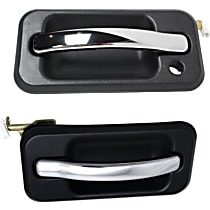 Front, Driver and Passenger Side Exterior Door Handle, Black bezel with chrome lever