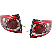 Driver and Passenger Side, Outer Tail Light, With bulb(s) - Clear & Red Lens
