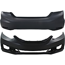 Bumper Cover - Front and Rear, 2 Pieces, Primed, For Sedan