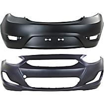CAPA Certified Front and Rear Bumper Cover, Primed, Hatchback
