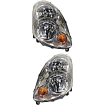 Driver and Passenger Side Halogen Headlight, With Bulb(s) - Sedan