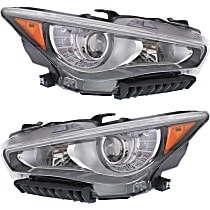 Driver and Passenger Side LED Headlight, With Bulb(s) - Without Adaptive Frontlighting System