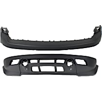 Front, Upper and Lower Bumper Cover - w/ Tow Hook Holes, w/o Chrome Trim Holes