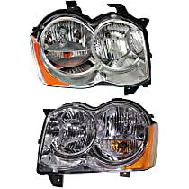 Driver and Passenger Side Halogen Headlight, With bulb(s) - 08-10 Grand Cherokee (Laredo/Limited/North Edition Model)