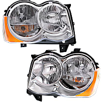 Headlights - Driver and Passenger Side, Pair, Halogen, Chrome Trim, With Bulb(s), CAPA Certified