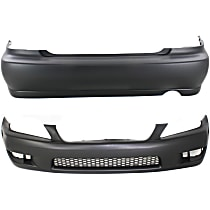 Front and Rear Bumper Cover, Primed - Sedan, w/o Headlamp Washer Holes