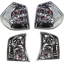 Driver and Passenger Side, Inner and Outer Tail Light, With bulb(s) - Clear Lens