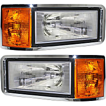 Driver and Passenger Side Headlight, With bulb(s) - Except CHN and Set Forward Axle Models, Clear And Amber Lens