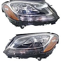 Driver and Passenger Side Halogen Headlight, With Bulb(s) - (15-16 Sedan) / (17-17 Coupe), CAPA CERTIFIED