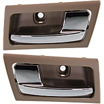 Interior Door Handle - Front or Rear, Driver and Passenger Side, Brown Bezel with Chrome Lever