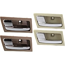 Interior Door Handle - Front and Rear, Driver and Passenger Side, Beige Bezel with Chrome Lever