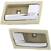 Interior Door Handle - Front or Rear, Driver and Passenger Side, Beige Bezel with Chrome Lever