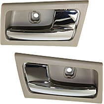 Interior Door Handle - Front or Rear, Driver and Passenger Side, Gray Bezel with Chrome Lever